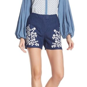 Boden Nadia Embroidered Linen Shorts Size 4